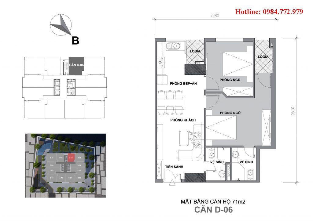 Thiết kế căn D6 Startup Tower Đại Mỗ, căn 2PN, hướng BC Tây nam, cửa vào Đông bắc