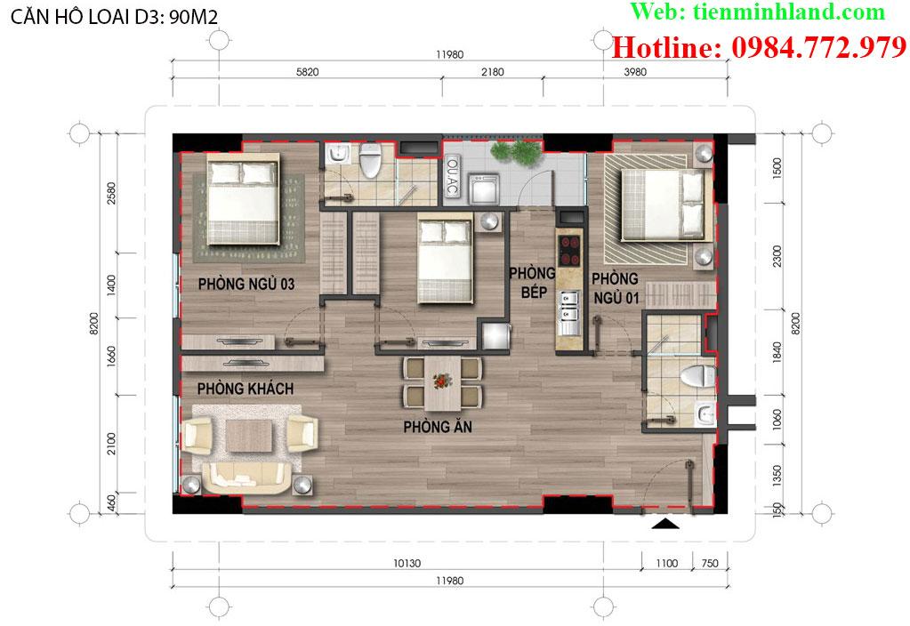 Căn hộ loại D3, diện tích 90m2 nhà ở xã hội cho cán bộ chiến sỹ bộ công an