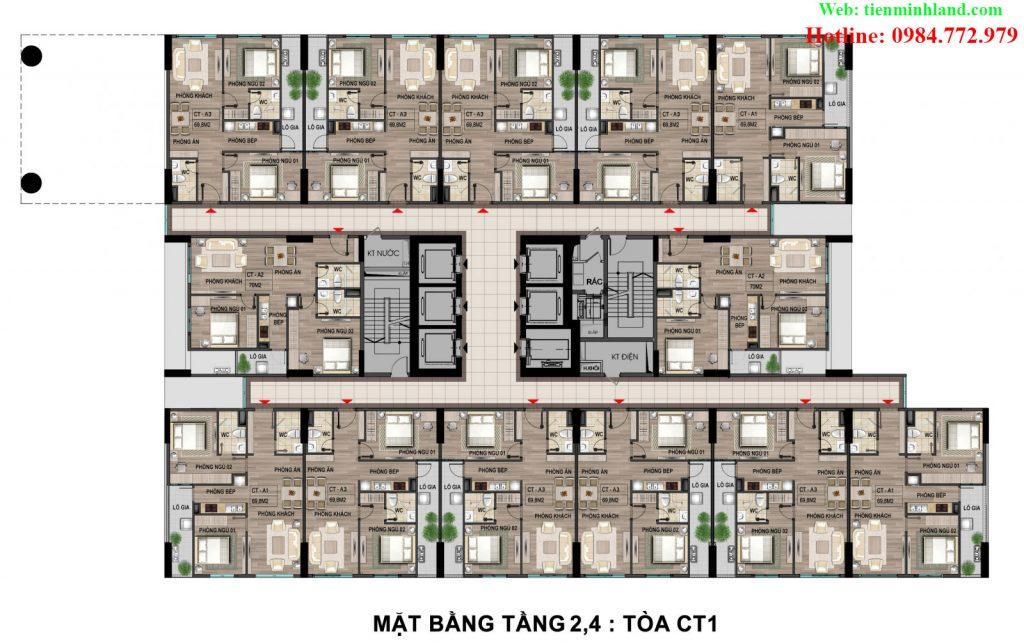 Mặt bằng tầng 2,4 toà CT1 nhà ở xã hội cho cán bộ chiến sỹ bộ công an