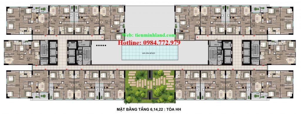 Mặt bằng tầng 6,14,22 toà HH nhà ở xã hội cho cán bộ chiến sỹ bộ công an