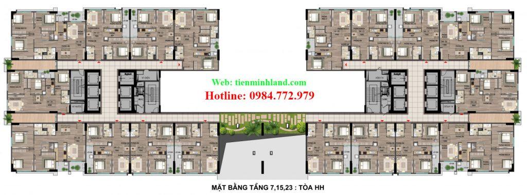 Mặt bằng tầng 7,15,23 toà HH nhà ở xã hội cho cán bộ chiến sỹ bộ công an