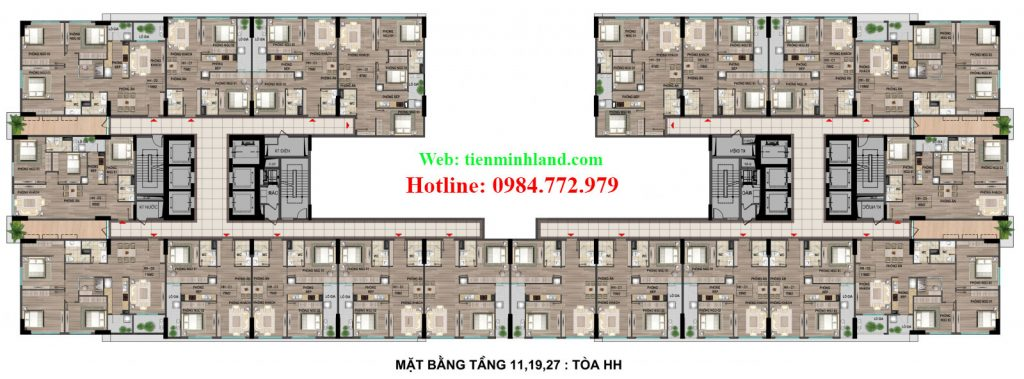 Mặt bằng tầng 11,19,27 toà HH nhà ở xã hội cho cán bộ chiến sỹ bộ công an