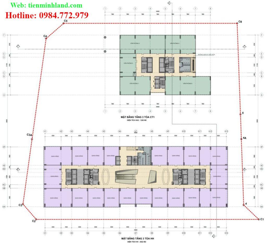 Mặt bằng tầng 3 - toà CT-1 và HH nhà ở xã hội cho cán bộ chiến sỹ bộ công an