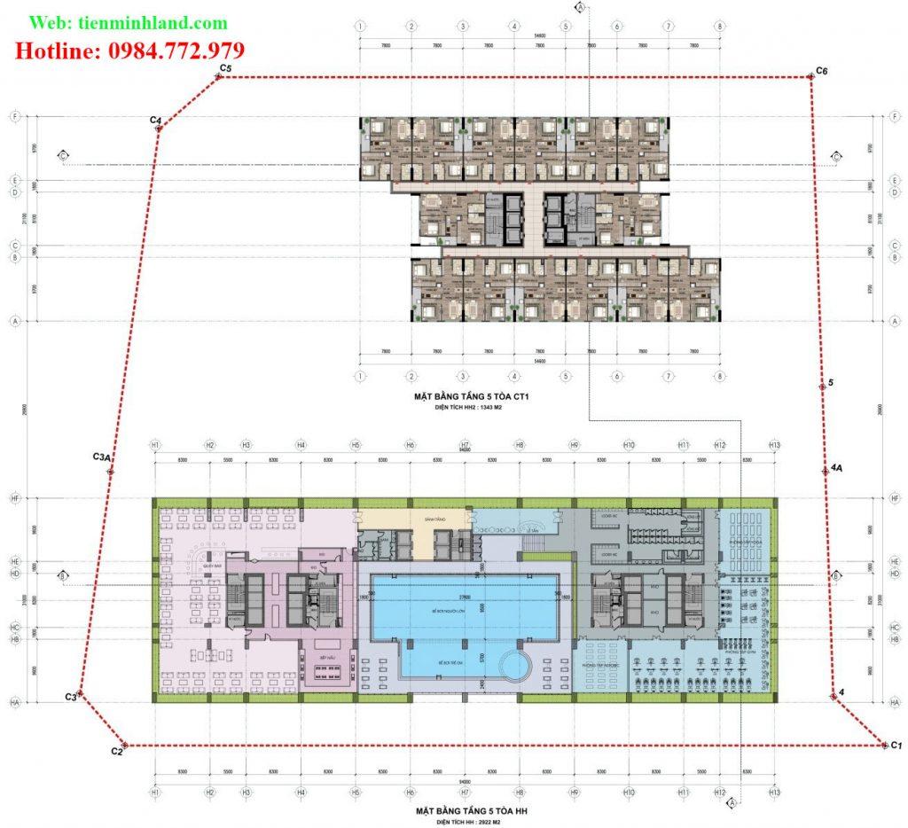 Mặt bằng tầng 5 - toà CT-1 và HH nhà ở xã hội cho cán bộ chiến sỹ bộ công an