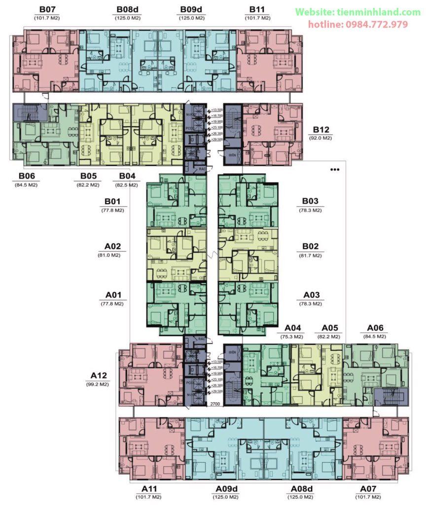 Mặt bằng tổng thiết kế căn hộ Florence Mỹ Đình