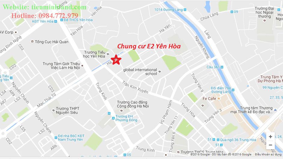 Vị trí dự án E2 Yên Hòa
